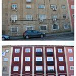 Comparativa estados original y reformado de fachada  a c/Somport del inmueble c/Anzánigo nº 4