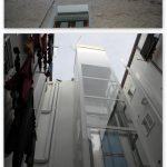 Comparativa estados original y reformado de patio de luces izquierdo de c/Anzánigo nº 4, con el nuevo ascensor