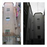 Comparativa estados original y reformado de patio de luces de la escalera de c/Anzánigo nº 4