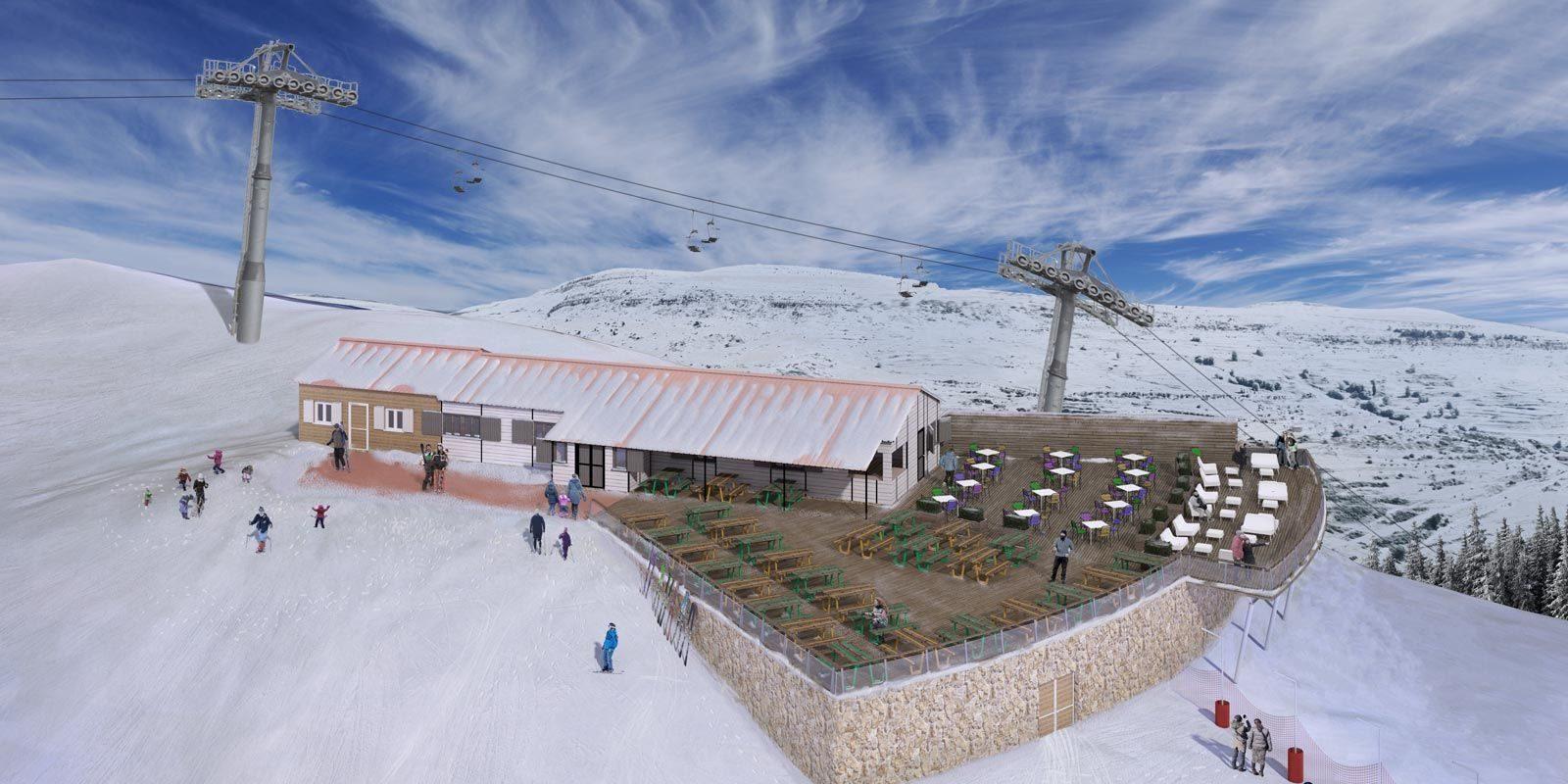 Infografía de nueva terraza estación de esquí de Valdelinares
